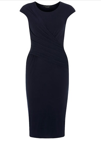 ink dress, mad men, office style, shift dress, blue dress