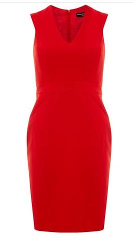 red dress, office chic, workwear, VEEP, Selina Meyer, sheath, fashion