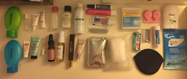 Toiletry items all laid out